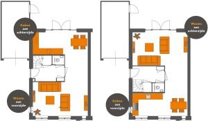 woonkamer en keukenindeling